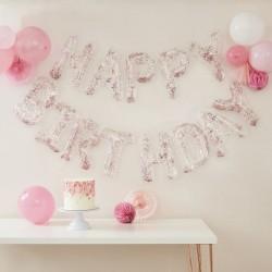 BANNER HAPPY BIRTHDAY trasparente con coriandoli