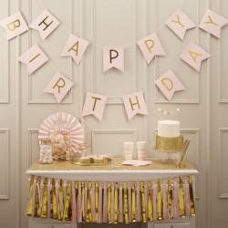 banner HAPPY BIRTHDAY rosa e oro