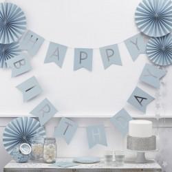 BANNER HAPPY BIRTHDAY azzurro e argento