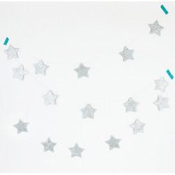 glitter star garland argento