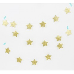 glitter star garland oro