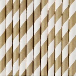 25 cannucce di carta a righe fuxia/bianco