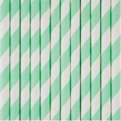 25 cannucce di carta a righe verde acqua/bianco