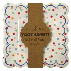 12 piattini a pois colorati 'toot sweet'