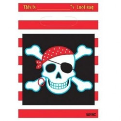 8 party bags 'pirate' nero rosso