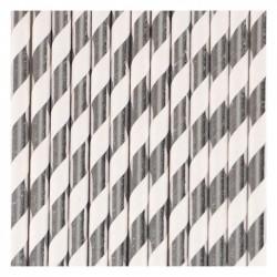 25 cannucce di carta a righe argento/bianco