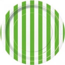 8 piattini a righe verdi e bianche