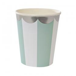 8 bicchieri a righe mint e bianco, decoro silver