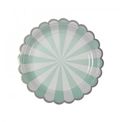 8 piatti a righe mint e bianco, decoro silver