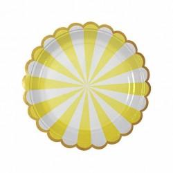 8 piattini a righe mint e bianco, decoro silver, 18 cm