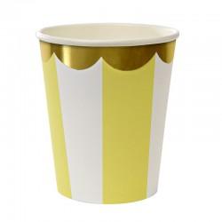8 bicchieri a righe giallo e bianco, decoro oro