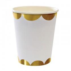 8 bicchieri bianchi, decoro oro