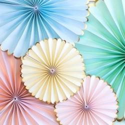 set 6 paper fan pastello