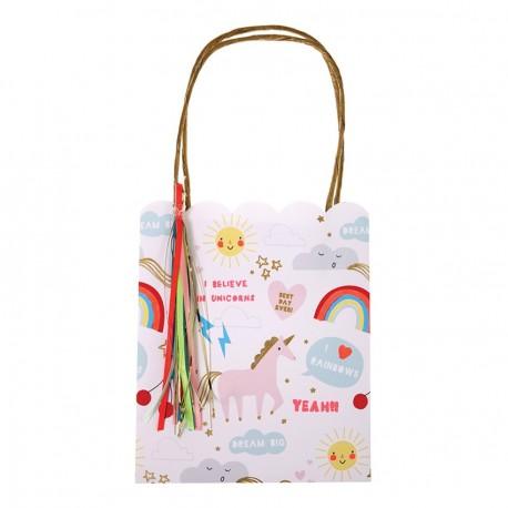 8 party bags unicorno arcobaleno