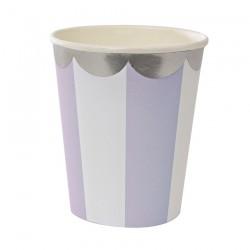 8 bicchieri a righe lilla e bianco, decoro silver
