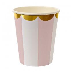 8 bicchieri a righe rosa e bianco, decoro oro