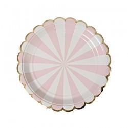 8 piattini a righe rosa e bianco, decoro oro
