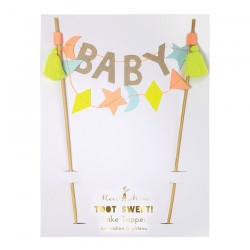 cake topper baby fluo