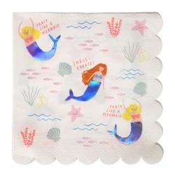 16 tovaglioli grandi 'Let's be Mermaids'