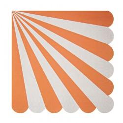 20 tovaglioli grandi righe bianco arancio