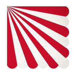 20 tovaglioli grandi righe rosse