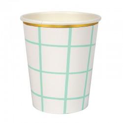 8 bicchieri a quadri mint e bianco, bordo oro