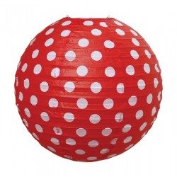 lanterna di carta rossa a pois bianchi diametro 60 cm