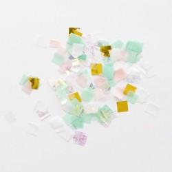 coriandoli decorativi quadrati irididescenti, oro e pastello
