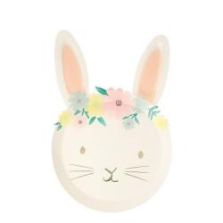 8 piatti coniglietto fiori