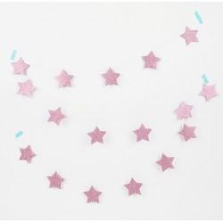 glitter star garland pink