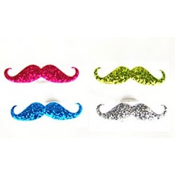 8 anellini 'glitter moustache'