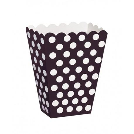 8 scatoline popcorn nere a pois bianchi
