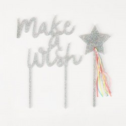 topper 'make a wish' argento glitter