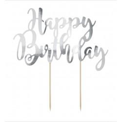 topper cartoncino HAPPY BIRTHDAY argento