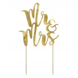 topper cartoncino MR&MRS oro