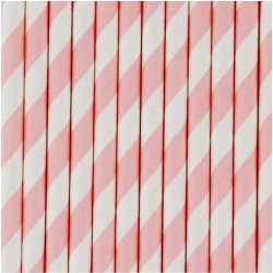 10 cannucce di carta a righe rosa/bianco