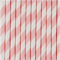 25 cannucce di carta a righe rosso/bianco