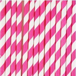 10 cannucce di carta a righe fucsia/bianco