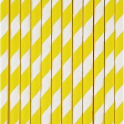 25 cannucce di carta a righe giallo/bianco
