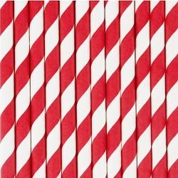 10 cannucce di carta a righe rosso/bianco