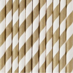 10 cannucce di carta a righe oro/bianco