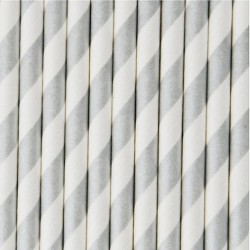 10 cannucce di carta a righe argento/bianco