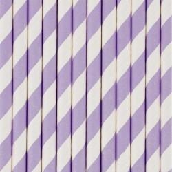 10 cannucce di carta a righe lilla/bianco