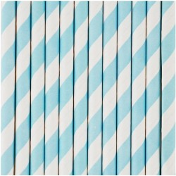 10 cannucce di carta a righe azzurro/bianco