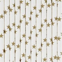 10 cannucce di carta stelle oro