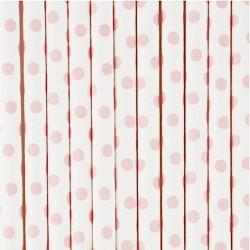 10 cannucce di carta a pois bianco/rosa
