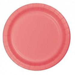16 piatti in carta - corallo