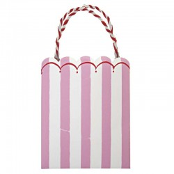 8 party bags pink stripes 'Toot sweet'