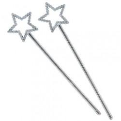 8 mini bacchette magiche - rosa/argento