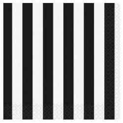 16 tovaglioli a righe nere e bianche